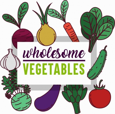 wholesome vegetables advertising colorful icons decor