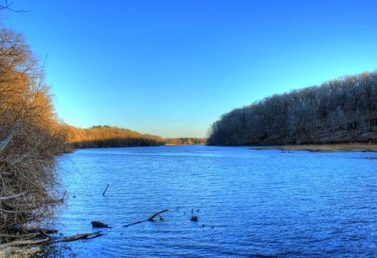 wide river at backbone state park iowa