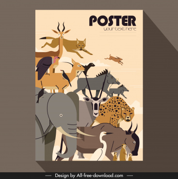 wild africa poster animal icons sketch classical design