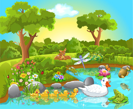 wild animal and natural scenery design vector set