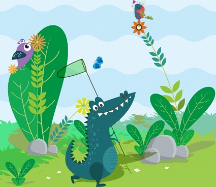 wild animal background colored cartoon stylized crocodile icon