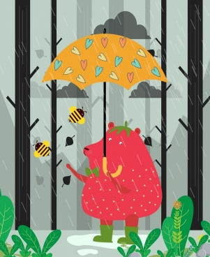 wild animal background rainy umbrella bear icons