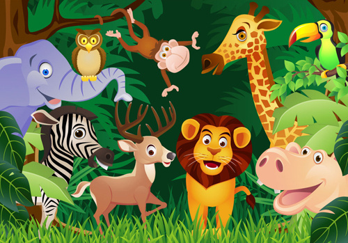 wild animal cute cartoon vector set