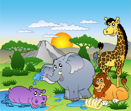 wild animal cute cartoon vector set