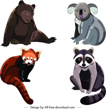 wild animal icons bear koala weasel raccoon symbols