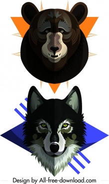 wild animal icons bear wolf heads decor