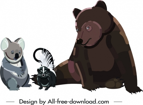wild animal icons koala bear squirrel symbols