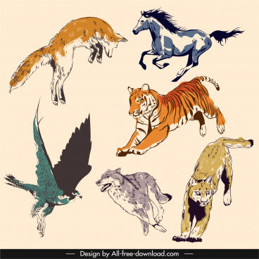wild animal icons motion gesture sketch handdrawn vintage