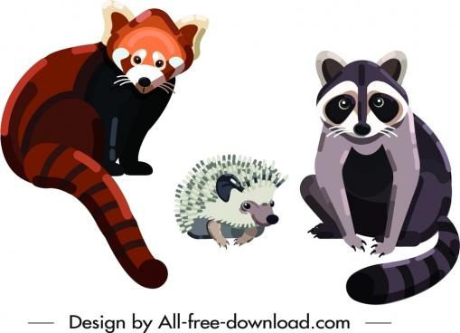 wild animal icons raccoon porcupine fox symbols