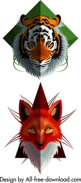 wild animal icons tiger fox heads decor