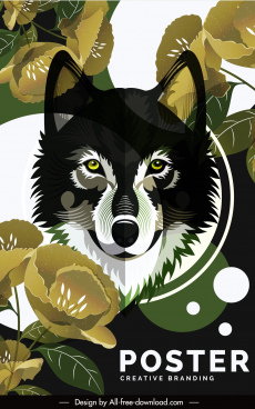 wild animal poster wolf sketch floral decor