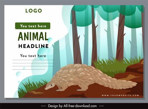 wild animal protection banner pangolin sketch cartoon design
