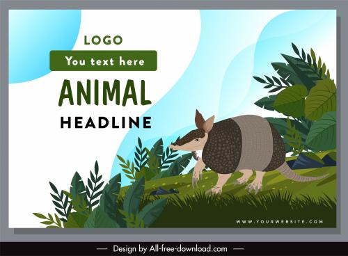 wild animal protection poster armadillo sketch