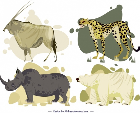 wild animals icons antelope leopard rhino bear sketch