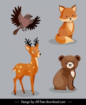 wild animals icons bird fox reindeer bear sketch