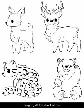 wild animals icons black white handdrawn sketch