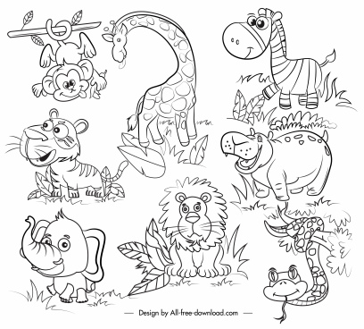 wild animals icons cartoon design black white handdrawn