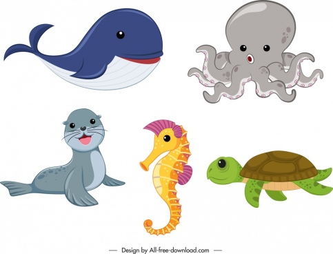 wild animals icons colored cute cartoon sketch