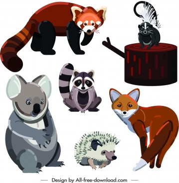 wild animals icons cute cartoon design