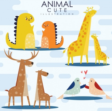 wild animals icons cute dinosaurs giraffes reindeer birds
