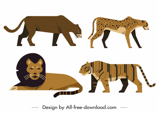 wild animals icons feline sketch classic design
