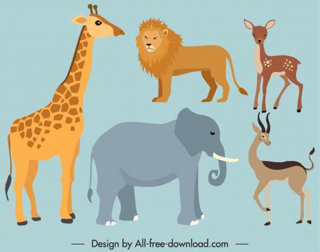 wild animals icons flat cartoon sketch