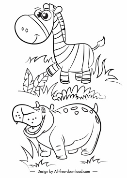 wild animals icons horse hippo cartoon sketch