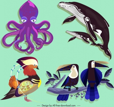 wild animals icons octopus whales birds sketch