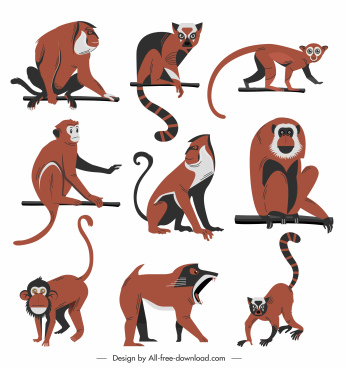 wild animals icons primate sketch colored cartoon sketch