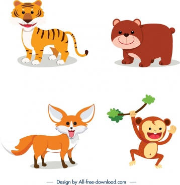 wild animals icons tiger bear fox monkey sketch
