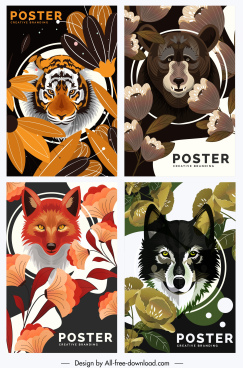 wild animals posters tiger bear fox wolf sketch