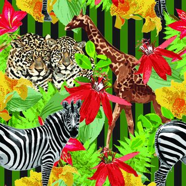 wild animals seamless pattern vector