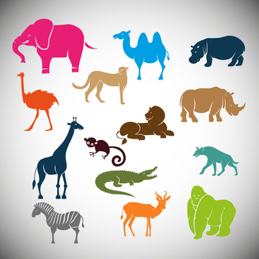 wild animals vector illustration with cartoon style