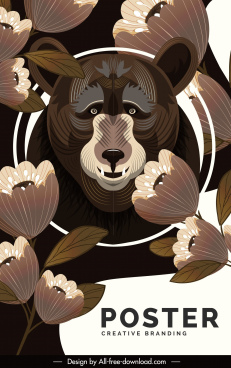 wild bear poster dark brown decor petals ornament