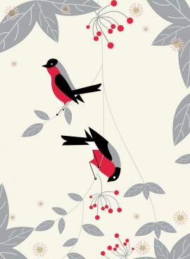 wild birds background colored flat cartoon design