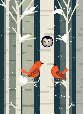 wild birds background winter forest icon flat design