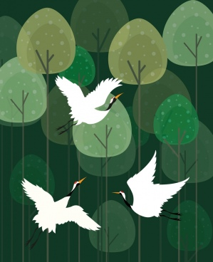 wild birds drawing green trees decoration