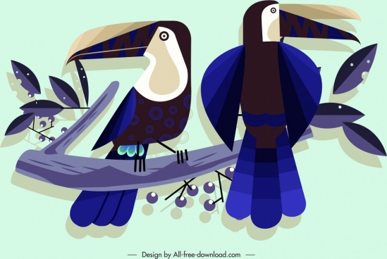 wild birds painting colored classical flat sketch