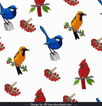 wild birds pattern bright colorful repeating icons decor