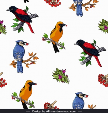 wild birds pattern colorful species icons decor