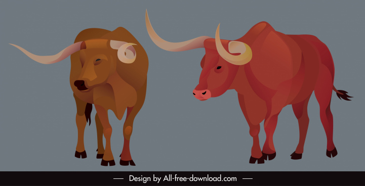 wild bull icons longhorn sketch cartoon design
