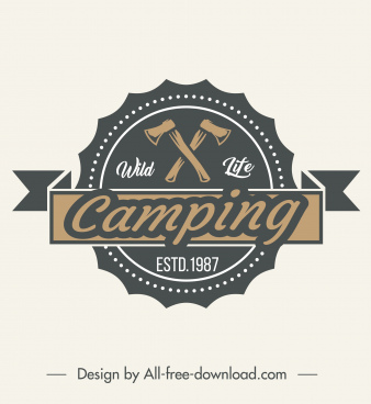 wild camping logotype classical axes ribbon sketch
