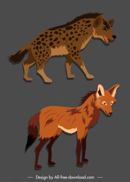 wild canine species icons hyena fox sketch