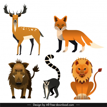 wild carnivore herbivore animals icons colored classic sketch