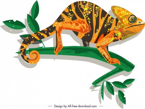 wild chameleon icon colorful flat sketch