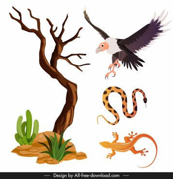 wild desert icons tree eagle snake gecko sketch