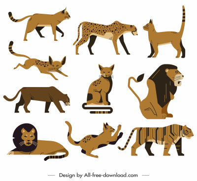 wild feline animals icons classical flat sketch