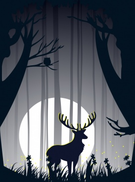 wild forest background moonlight reindeer icon silhouette style