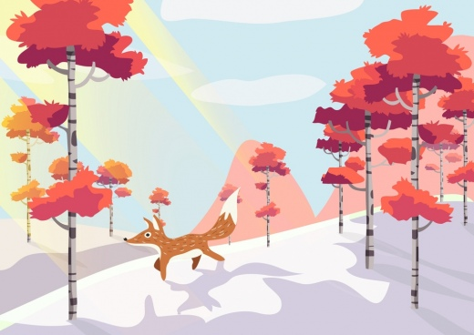 wild forest drawing red leaves fox icons decoration