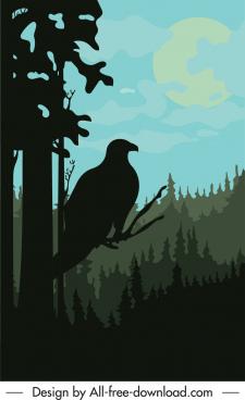 wild forest scene painting dark silhouette eagle sketch